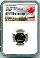 2017 CANADA BIRTHDAY SET 10 CENT DIME NGC MS69 PL PROOF LIKE