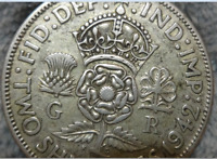 1942 GREAT BRITAIN FLORIN TWO SHILLINGS SILVER COIN   KING G