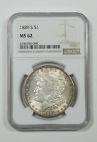 1889-S MORGAN DOLLAR CERTIFIED NGC MINT STATE 62 SILVER DOLLAR