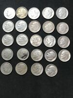 SILVER ROOSEVELT DIMES 24 COINS $2.40 FACE VALUE 1946 TO 196