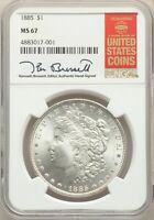 1885 US MORGAN SILVER DOLLAR $1 - NGC MINT STATE 67