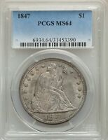 1847 US SEATED LIBERTY SILVER DOLLAR $1 - PCGS MINT STATE 64