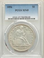 1856 US SEATED LIBERTY SILVER DOLLAR $1 - PCGS EXTRA FINE 45