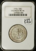 1936 COLUMBIA SOUTH CAROLINA HALF.  COMMEMORATIVE.  IN NGC HOLDER.  MINT STATE 66.  F916
