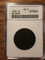 1803 DRAPED BUST LARGE CENT, SMALL DATE  - ANACS AG3