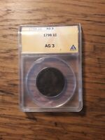 1798 DRAPED BUST LARGE CENT - ANACS   AG 3