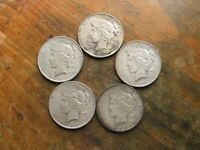 LOT OF 5 BETTER DATE 1927-D PEACE SILVER DOLLARS ALL DENVER MINT