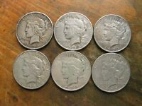 LOT OF 6 BETTER DATE 1935 DATED PEACE SILVER DOLLARS 3-P MINT AND 3- S MINT