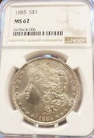 1885 MORGAN DOLLAR NGC MINT STATE 62