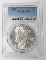 1885 MORGAN DOLLAR CERTIFIED PCGS MINT STATE 64 SILVER DOLLAR