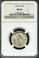 US 1926-D STANDING LIBERTY QUARTER, NEARLY FULL HEAD,  NGC GRADED MINT STATE 64