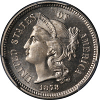 1878 THREE 3 CENT NICKEL PROOF PCGS PR65CAM CAC STICKER SUPERB EYE APPEAL
