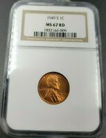 1949 S LINCOLN WHEAT CENT PENNY COIN NGC MINT STATE 67 RD RED GEM BU DEEP STRIKE UNC