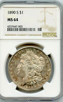 1890-S  $1 MORGAN SILVER DOLLAR  NGC  MINT STATE 64