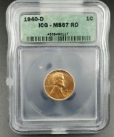 1940 D LINCOLN WHEAT CENT PENNY COIN ICG MINT STATE 67 RD RED GEM BU UNCIRCULATED