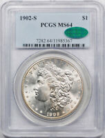 1902 S $1 MORGAN DOLLAR PCGS MINT STATE 64 UNCIRCULATED LUSTROUS CAC APPROVED