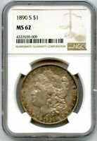 1890-S MORGAN SILVER DOLLAR $1 NGC MINT STATE 62