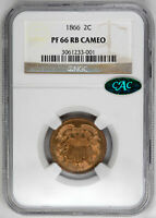 1866 2C CA PROOF SHIELD TWO CENTS - NGC PR66 RB CAMEO CAC APPROVED