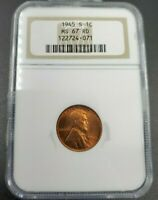 1945 S LINCOLN WHEAT CENT PENNY COIN NGC MINT STATE 67 RD RED BROWN LABEL ANA HOLDER
