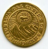 COSTA RICA 1849 GOLD 1 ESCUDO COUNTERSTAMP UPON CENTRAL AMERICAN REPUBLIC COIN