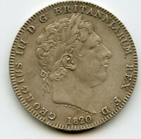 GREAT BRITAIN CROWN 1820 LX GEORGE III BRITISH SILVER HIGH GRADE
