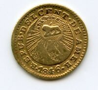 COSTA RICA 1846 GOLD 1/2 ESCUDO COUNTERSTAMP CENTRAL AMERICAN REPUBLIC COIN
