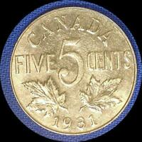 CANADA 1931 5 CENTS
