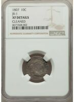 1807 DRAPED BUST 10C JR-1 NGC CERTIFIED EXTRA FINE  DETAILS CLEANED