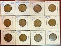 LOT OF 12X USA LINCOLN WHEAT CENTS - DATES: 1935-D TO 1952-D
