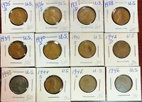 LOT OF 12X USA LINCOLN WHEAT CENTS - DATES: 1935-D TO 1946