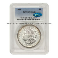 1904 $1 MORGAN SILVER DOLLAR PCGS MINT STATE 64 CAC CERTIFIED CHOICE PHILADELPHIA COIN