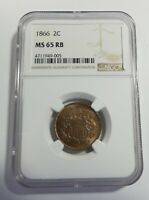 1866 TWO-CENT PIECE CERTIFIED NGC MINT STATE 65 RED BROWN  2C