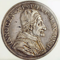 Click now to see the BUY IT NOW Price! 1676 VATICAN POPE INNOCENT XI. SILVER PIASTRA  80 BOLOGNINI  COIN. NGC AU 58