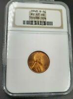 1948 S LINCOLN WHEAT CENT PENNY COIN MINT STATE 67 NGC RED RD ANA BROWN LABEL CASE GEM BU