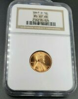 1947 D LINCOLN WHEAT CENT PENNY COIN MINT STATE 67 NGC RED RD ANA BROWN LABEL CASE GEM BU