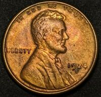 1924-S LINCOLN CENT WHEAT CENT, TYPICAL STRIKE, TOUGH THIS , HIGH GRADE