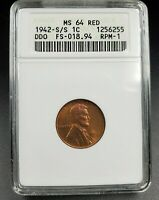1942 S S/S LINCOLN WHEAT CENT DDO RPM ANACS MINT STATE 64 RED FS-101/301 FS-018.94 S/S/S