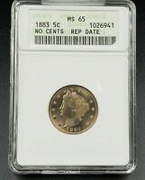 1883 NO CENTS LIBERTY V NICKEL VARIETY COIN ANACS MINT STATE 65 RPD 010 REPUNCHED DATE 10