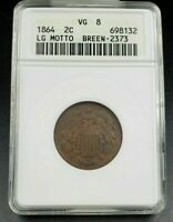 1864 2C LIBERTY TWO CENT COIN ANACS VG08 FS-1302 BREEN-2373 18/18 RPD VARIETY