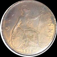 GREAT BRITAIN 1919 PENNY OLD COIN R&B UNCIRCULATED
