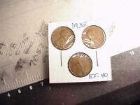 ONE EACH 1935 P D AND S LINCOLN WHEAT CENT  FINE