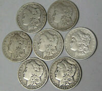 LOT OF 7 MORGAN SILVER DOLLARS 1881 883 1884 1889 1890 1891 1904 PHILADELPHIA