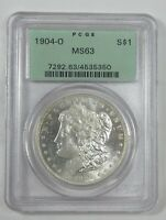 1904-O MORGAN DOLLAR CERTIFIED PCGS OLD GREEN HOLDER MINT STATE 63 SILVER $