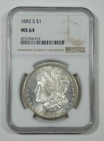 1882-S MORGAN DOLLAR CERTIFIED NGC MINT STATE 64 SILVER DOLLAR  SEMI PROOF-LIKE