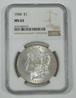 1904 MORGAN DOLLAR CERTIFIED NGC MINT STATE 63 SILVER DOLLAR