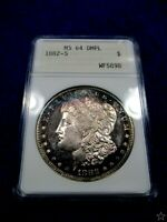 1882-S MORGAN DOLLAR 64-DMPL/DEEP CAMEOS/TONED DOUBLE DIE DATE STRONG POP 47