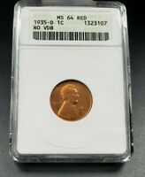 1935 D LINCOLN WHEAT CENT PENNY COIN ANACS MINT STATE 64 RD