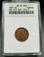 1937 P LINCOLN WHEAT CENT PENNY COIN ANACS MINT STATE 64 RD DDO 002 VARIETY COIN