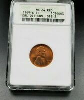 1949 S LINCOLN WHEAT CENT PENNY COIN VARIETY ANACS MINT STATE 64 DDO 002 DOUBLE DIE OBV