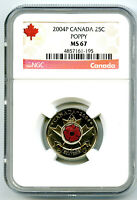 2004 P CANADA 25 CENT NGC MS67 UNCIRCULATED POPPY QUARTER CO
